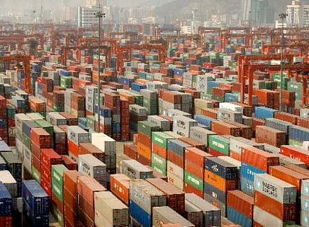 Cargo port packed with containers